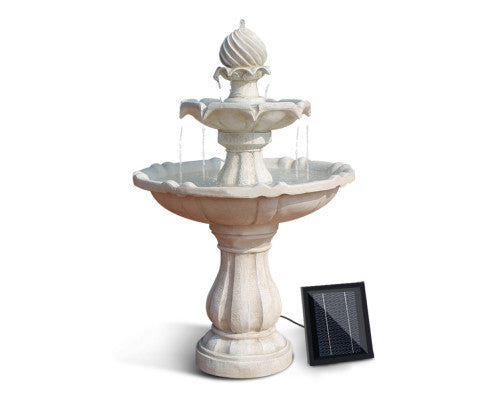 3 Tier Solar Powered Water Fountain - Ivory or Black