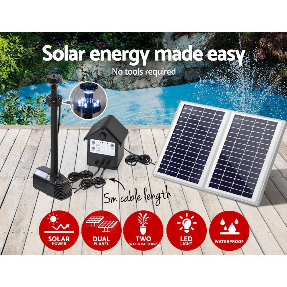 110W LED Solar Fountain with Battery, Submersible fountain Water Pump