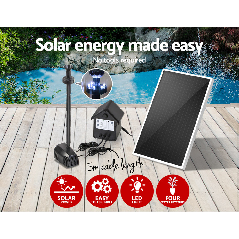 30W LED Solar Fountain with Battery, Submersible fountain Water Pump