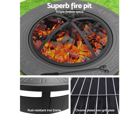 2IN1 Round Fire Pit & BBQ Table