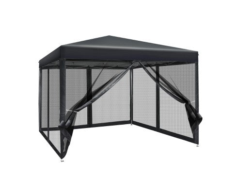 3x3m Outdoor Mesh Gazebo Marquee - White, Black or Grey