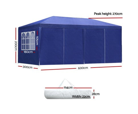 3x6m Outdoor 8 Panel Mesh Gazebo Marquee  - White, Black or Grey