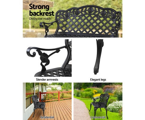 Aluminium Outdoor Garden Bench for Patio Porch