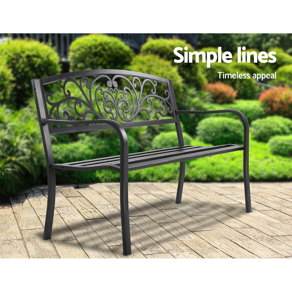 Cast Iron Garden Patio Bench - Black