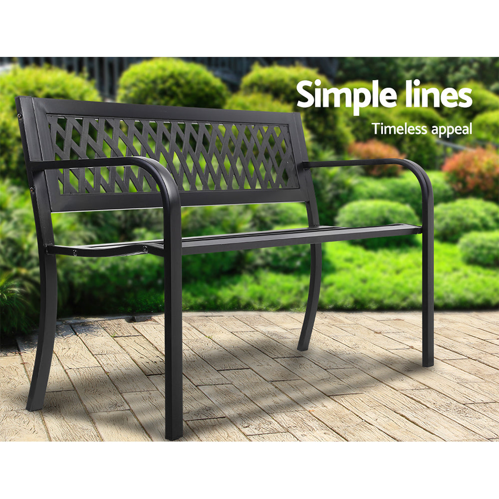 Cast Iron Modern Garden Patio Bench - Black
