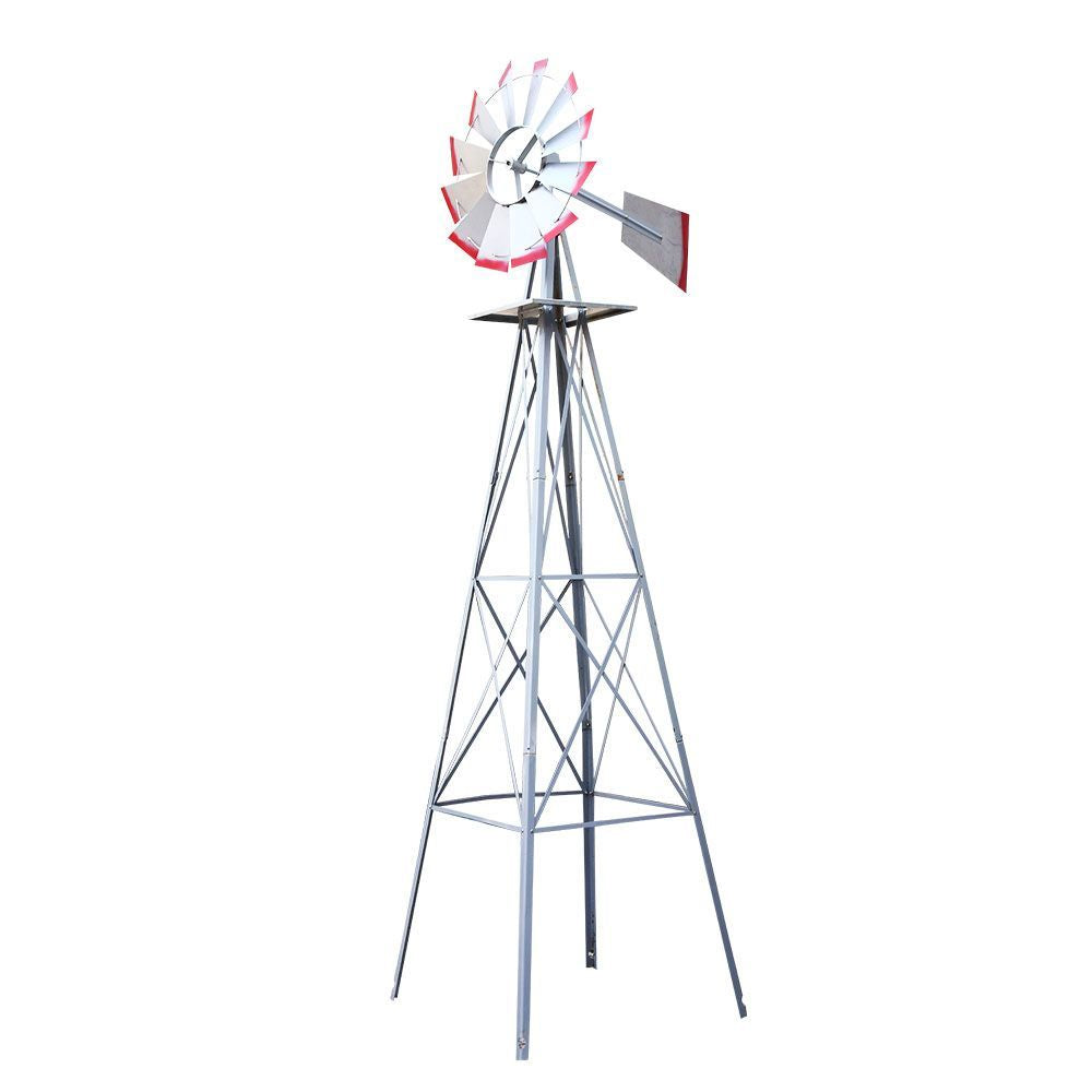 Garden Windmill 8FT 245cm Metal Ornaments Outdoor Decor Ornamental Wind Will