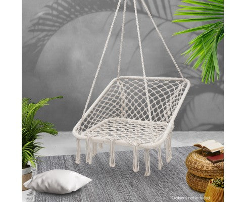 Outdoor Hammock Hanging Portable Rope Swing Cream