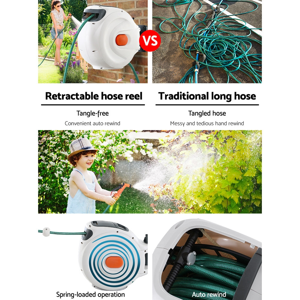 Greenfingers Retractable Hose Reel 20M Garden Water Brass Spray Gun Auto Rewind