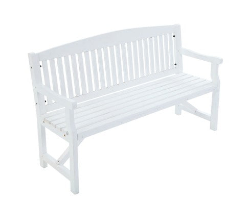 Natural Patio 3 Seater wooden Garden Bench - Brown or White