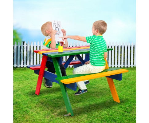 Kids Wooden Picnic Patio Bench Set
