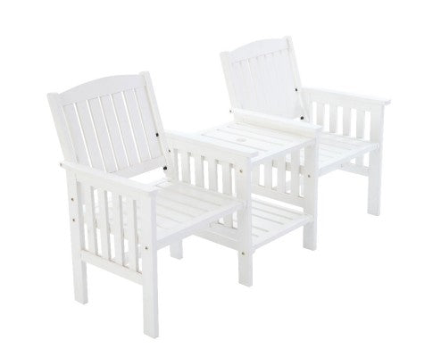 Wooden Garden Bench Table Loveseat, Outdoor Furniture for Patio - White or Brown