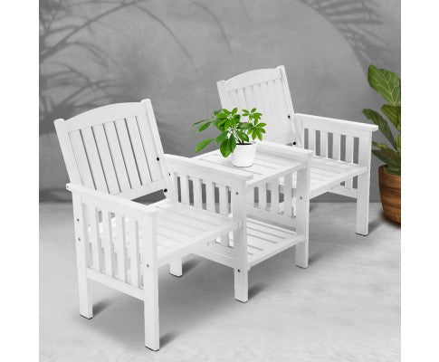 Wooden Garden Bench Table Loveseat, Outdoor Furniture for Patio - White or