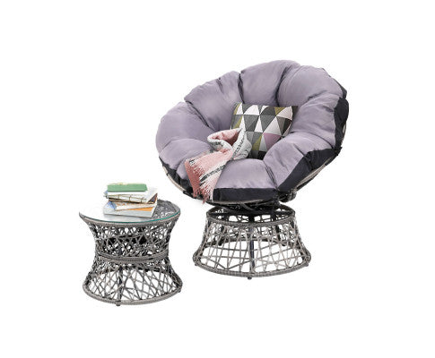 Papasan Chair and Side Table - Choose Color