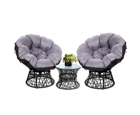 Papasan Chair and Side Table Set - Choose Color