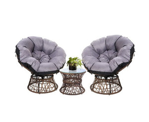 Papasan Chair and Side Table Set