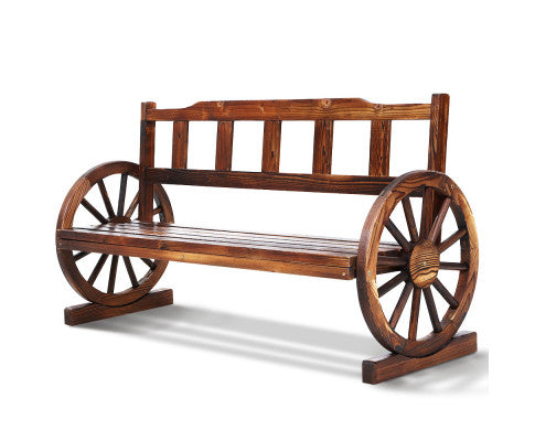 3 Seater Outdoor Wooden Wagon Bench