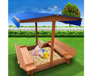 Wooden Outdoor Sand Box Set Sand Pit- Natural Wood