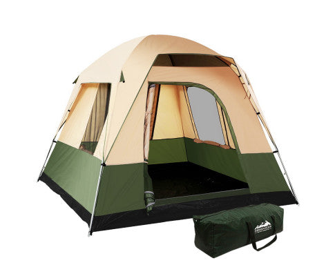 Weisshorn 4 Person Family Camping Tent Ripstop - Green