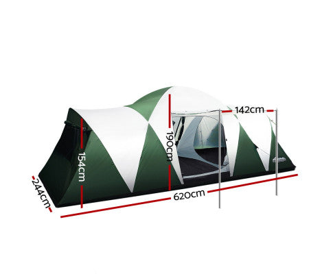 12 Person Family Camping Hiking Tent (3 Rooms) Green