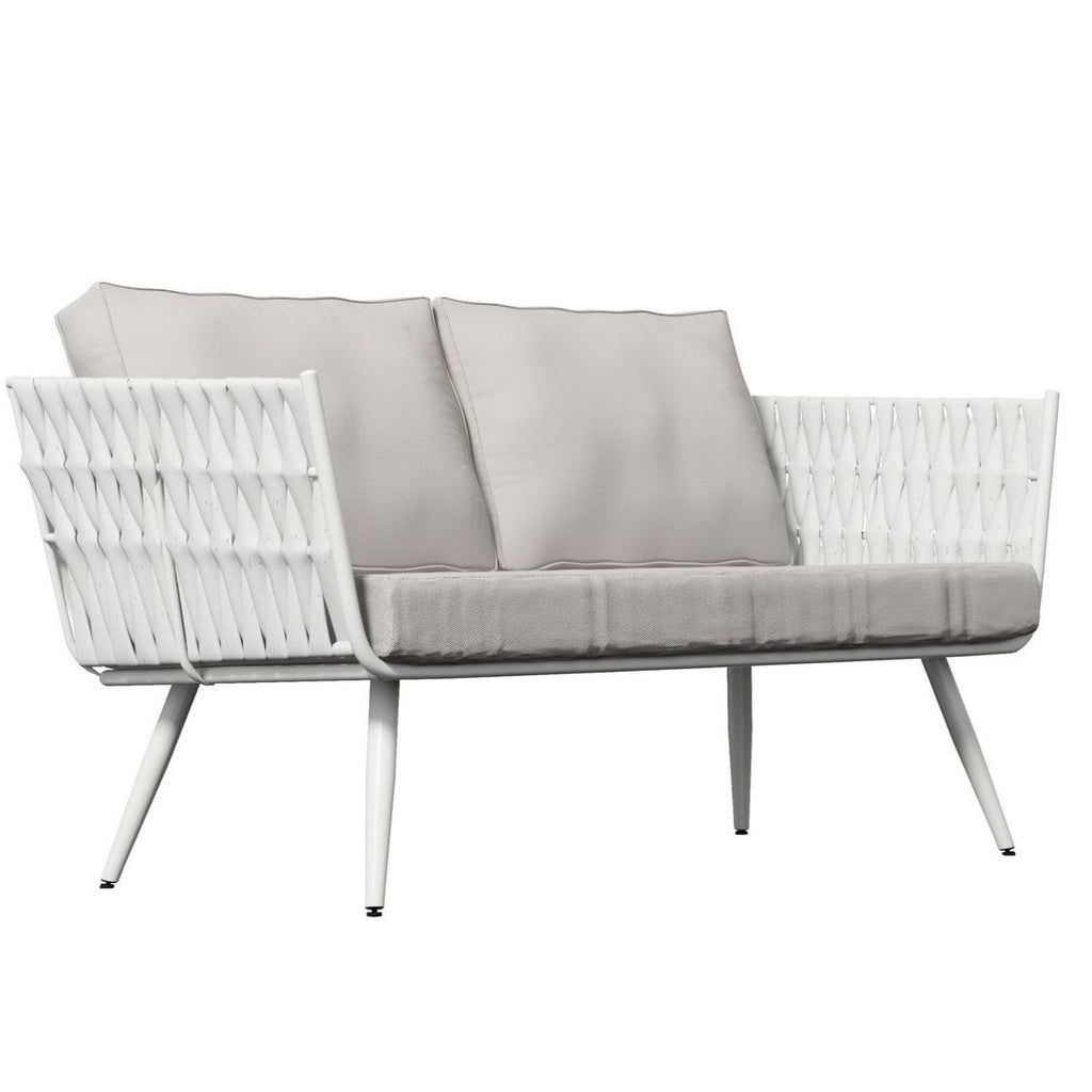 Milano White Outdoor Two-Seater Sofa with Cushions