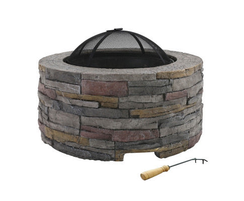 Grillz Outdoor Charcoal Fire Pit Table Fireplace