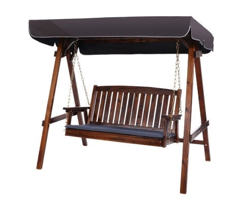 3 Seater Wooden Swing Chair Patio Bench Canopy