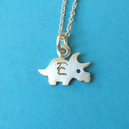 Personalized Triceratops Necklace