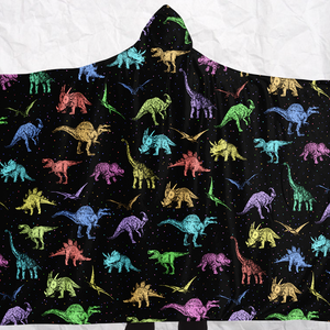 Personalized Rainbow Dinos Hooded Blanket