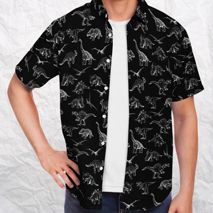 Personalized Dinosauria Black Button-Up Shirt