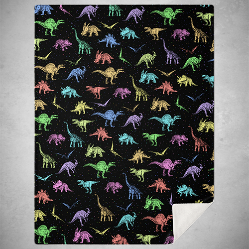 Personalized Rainbow Dinos Blanket