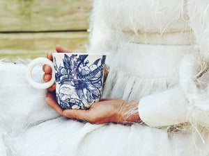 Nordic Blue Tentacle and Floral Mug