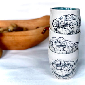 Hand-Painted Peony Yunomi Cups