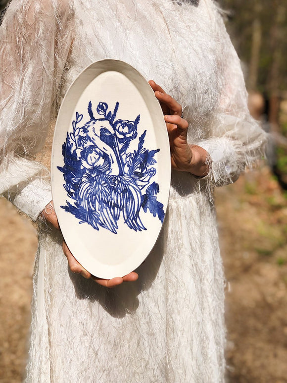Nordic Blue Heron and Floral Platter