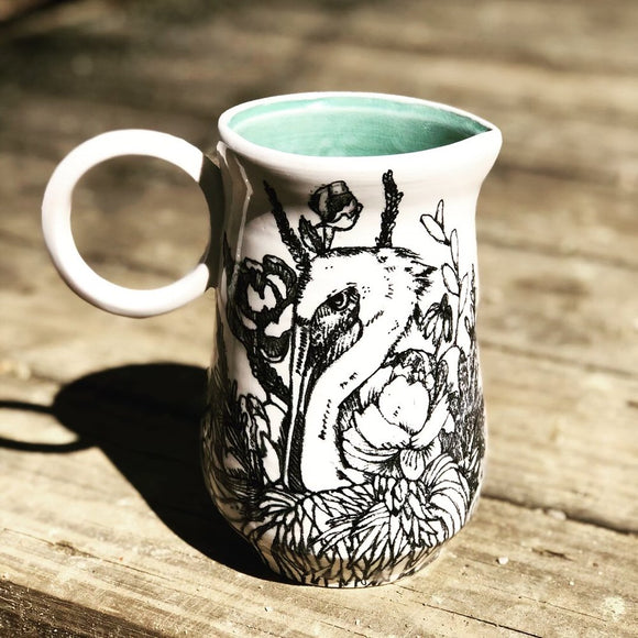 Floral Heron Pitcher