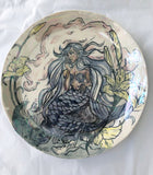 Iridescent Mermaid and Dolphin Diptych Plate Set