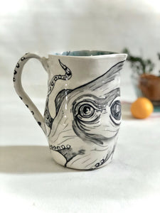 Hand painted Octopus Pitcher