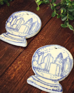 Charlotte Skyline in Snow-globe Ornament