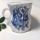 Blue Heron with Irridescent Coral Frame Mug