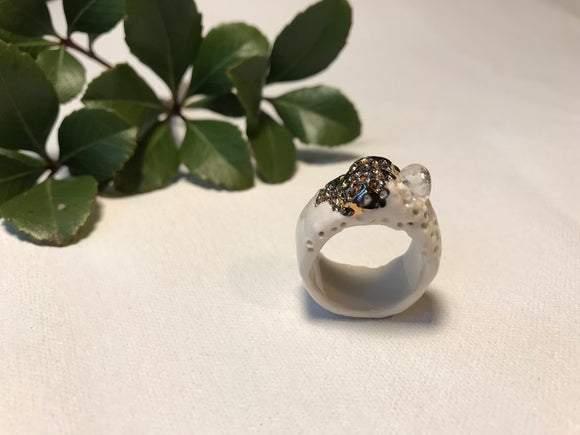 Porcelain, 22 karat gold luster, quartz ring size 12