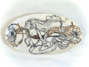 Golden Floral Mermaid Platter
