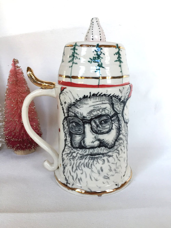 Santa Beer Stein with Antler and 22 Karat Gold Accents
