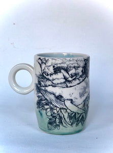 Oceans Bottom Whale and Floral Mug