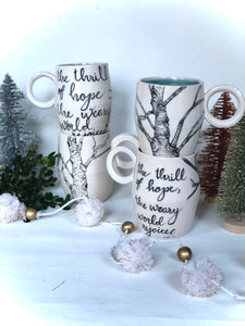 "Birch Tree ""Weary World Rejoices"" Mug"
