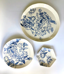 Nordic Blue Floral Plate