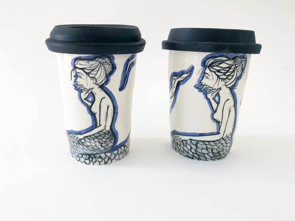 Contemplative Mermaid Travel Mug with Lid