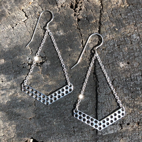 Stainless Steel Mesh Drop Earrings