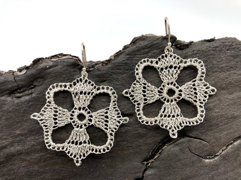 Silver Crochet Square Earrings