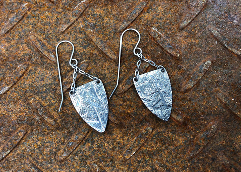 Stainless Steel Hammer Toned Shield Earrings