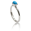 Sterling Silver Oval Stacking Ring with Turquoise