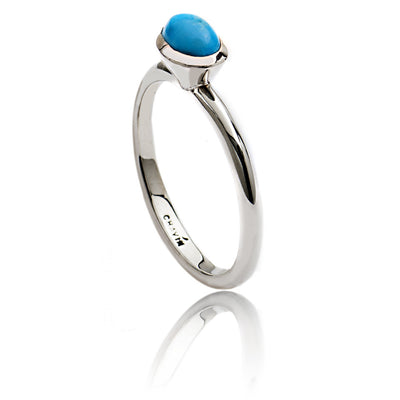 Women's Dynamic Sterling Silver Oval Stacking Ring with Turquoise